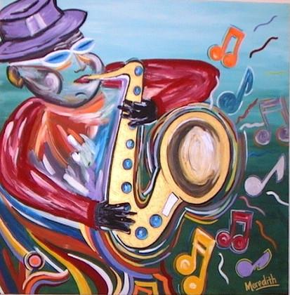 Jazz Notes Acrylic on Canvas 4' x 4'