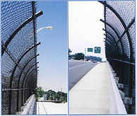 curved top fence, fence on bridge, curved fence on bridge