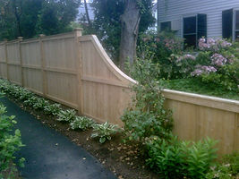 Wood fence, stockade fence, fancy wood fence