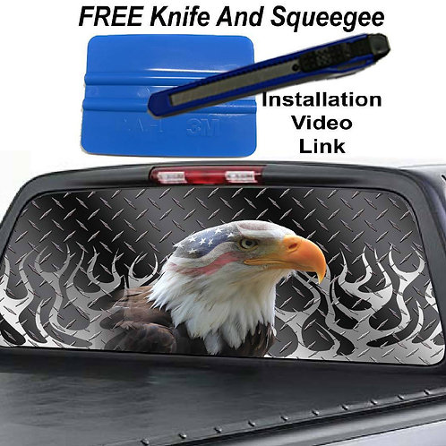 Flamed Steel Plate Eagle Rear Window Graphic Decal Sticker