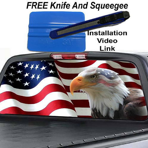 American Flag Eagle Mask Rear Window Graphic Decal Sticker