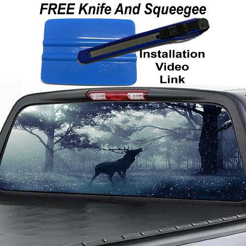 Deer Winter Snow Rear Rear Window Graphic Decal Sticker