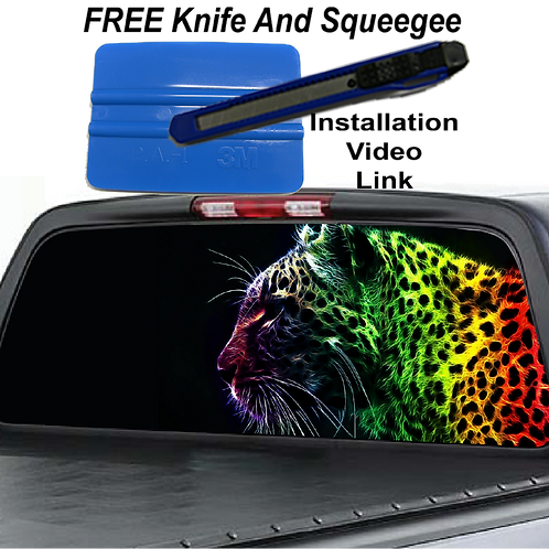 Multi-colored Leopard Rear Window Graphics