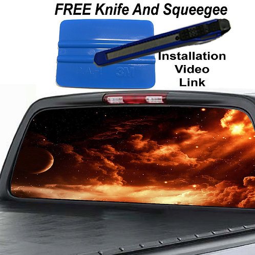 Red Galaxy Rear Window Graphic Decal Sticker