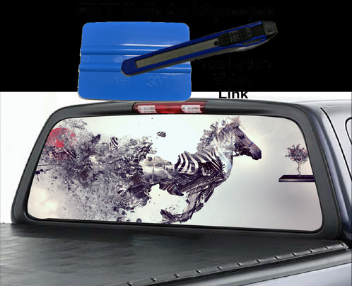 Rear window graphic that is easily installed by anyone included is the window graphic a squeegee that is used to apply the graphic to the window