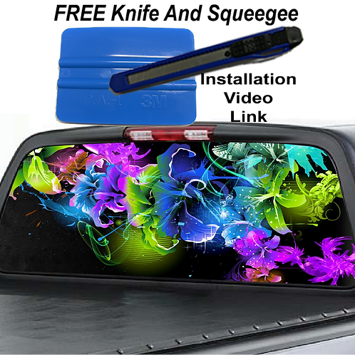 Colorful Flowers Rear Window Graphics