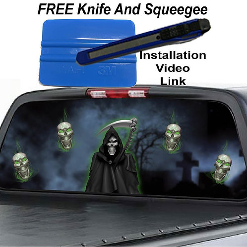Green Grim Reaper W/ Skulls Rear Window Graphics