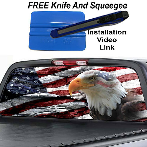 American Flag Rock Bald Eagle Rear Window Graphic Sticker Decal