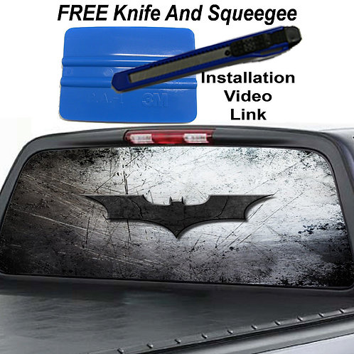 Batman Dark Knight Steel Look Rear Window Graphic Decal Sticker