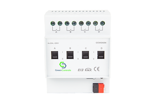 KNX Switching Actuator, 4 channels, 20A, with Current Detection