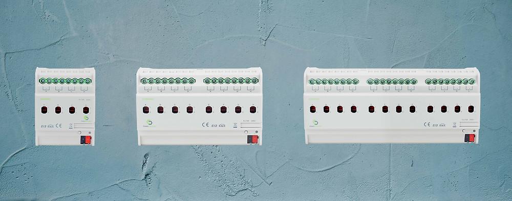 Thiết bị GreenControls KNX Switching Actuator, 16A có các loại: 4 kênh, 8 kênh, 12 kênh