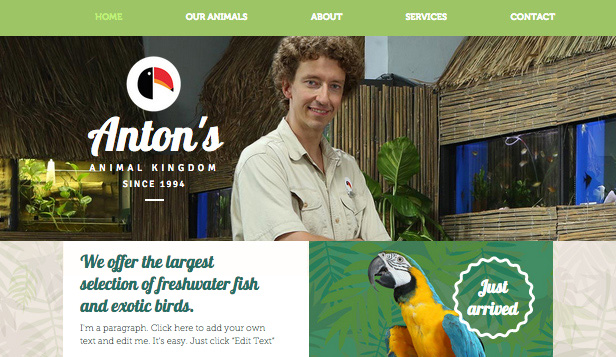 Pets & Animals website templates – Exotic Pet Shop