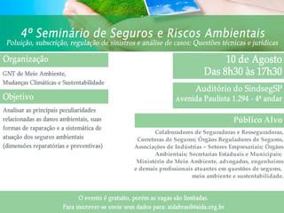 AIDA/Brasil realizará 4º Seminário  sobre Seguros e Riscos Ambientais