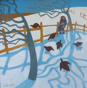 _Fowls in the snow_  oil  50 x 50 cms