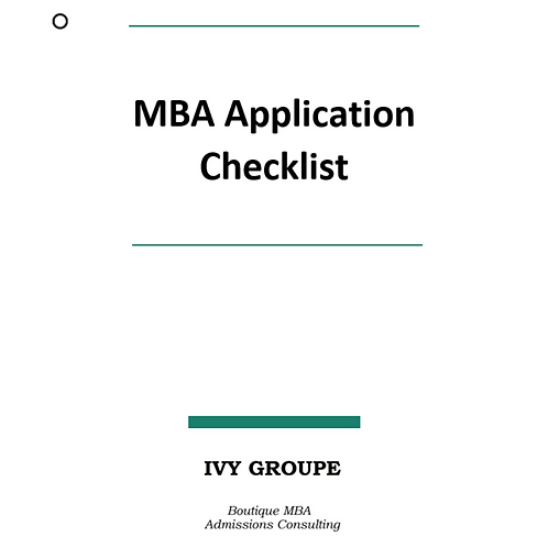 MBA Application Checklist
