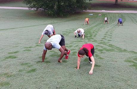My Tribe Boot Camp bear crawl Piedmont Park Atlanta
