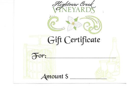 Hightower Creek Vineyards Gift Certificate