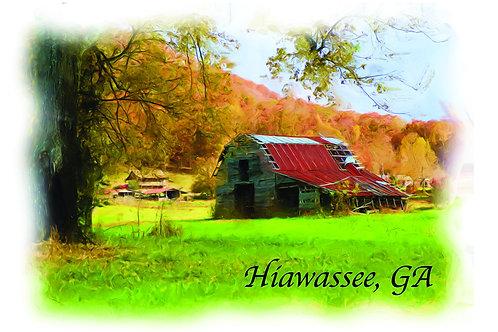 2 - 4x6 Postcards of Old barn in Hiawassee GA