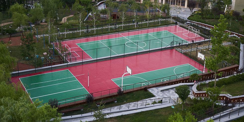 Set of sports fields. Soccer field baske