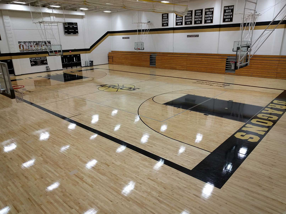 Argos High School located in Argos, Indiana wood gymnasium flooring