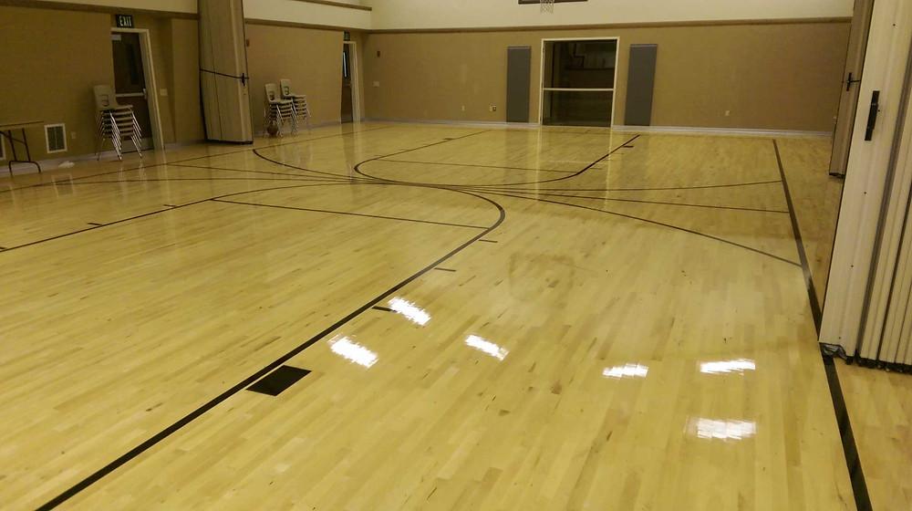 Jonesville Latter Day Saints (LDS) located in Jonesville, Michigan wood gymnasium flooring