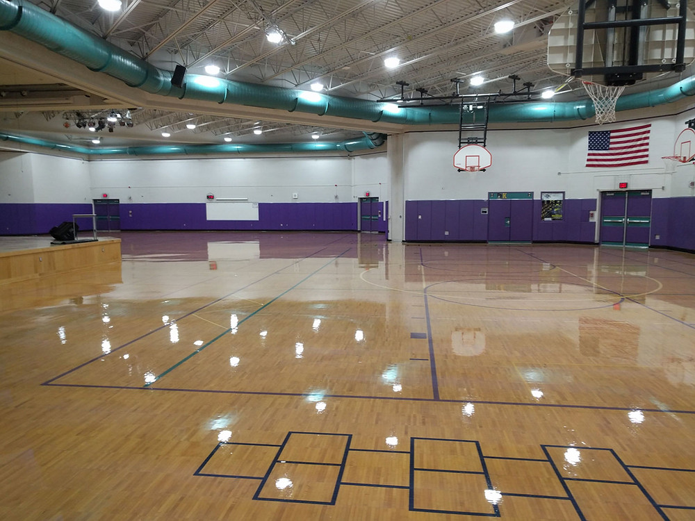 Meadowbrook Middle School located in Novi, Michigan wood gymnasium flooring