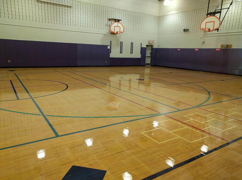 Dublin Elementary School located in White Lake, Michigan wood gymnasium flooring