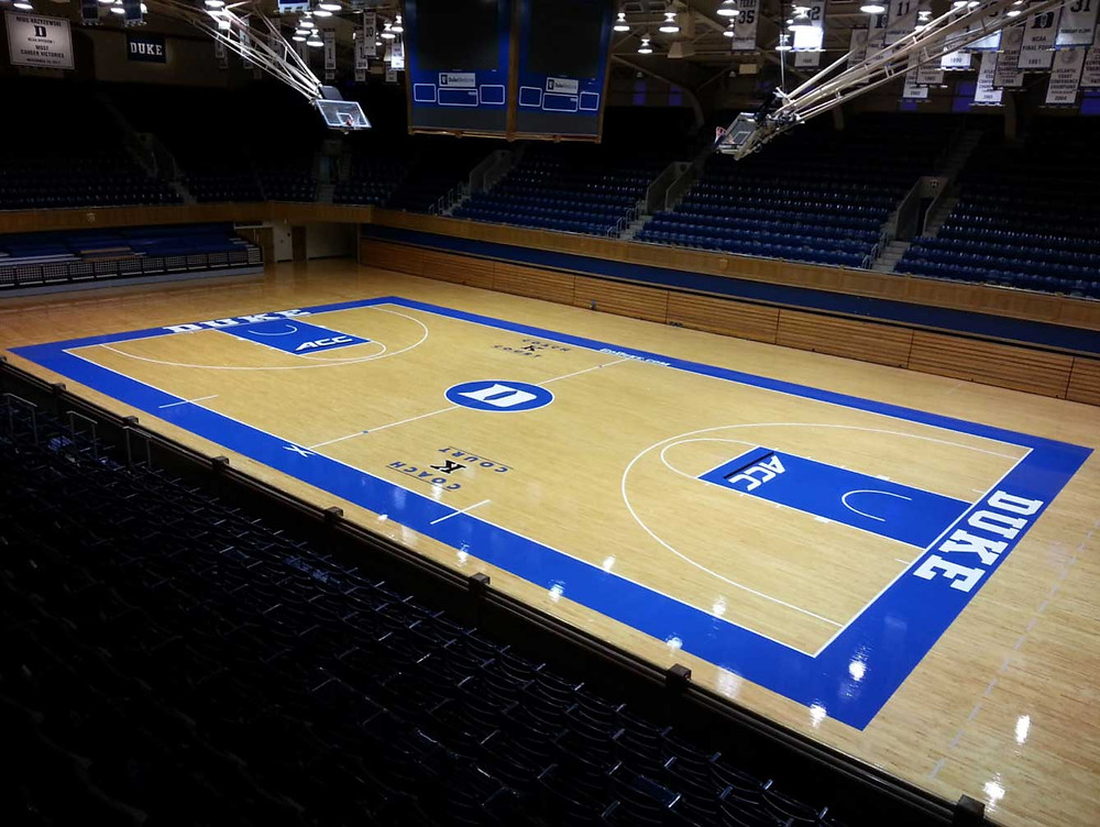 Duke University Cameron Arena located in Durham, North Carolina wood gymnasium flooring