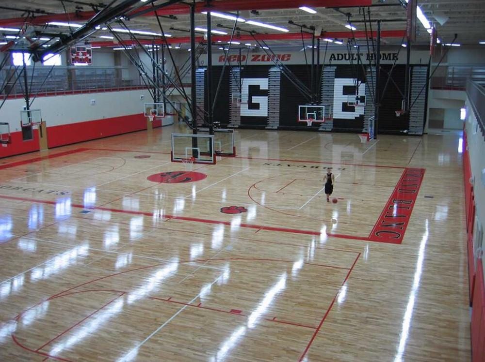 Grand Blanc High School located in Grand Blanc, Michigan wood gymnasium flooring