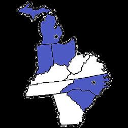 midwest map of us - We serve Michigan, Ohio, Indiana, North Carolina & South Carolina
