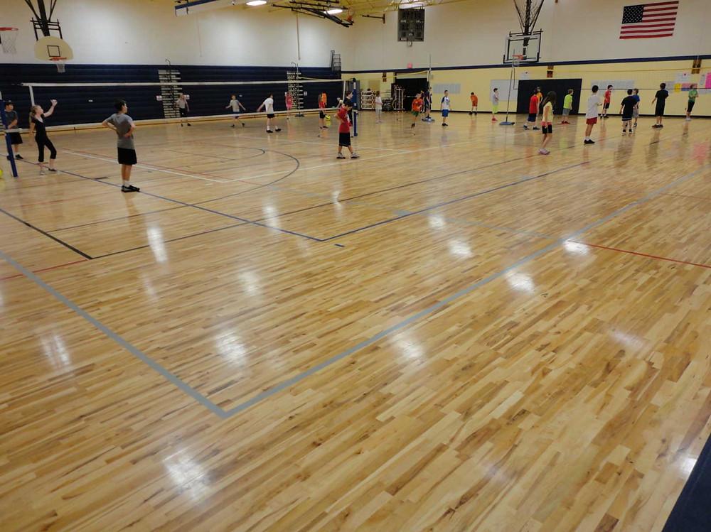 Hartland Farms Intermediate School located in Brighton, Michigan new Bio Cushion wood gymnasium flooring