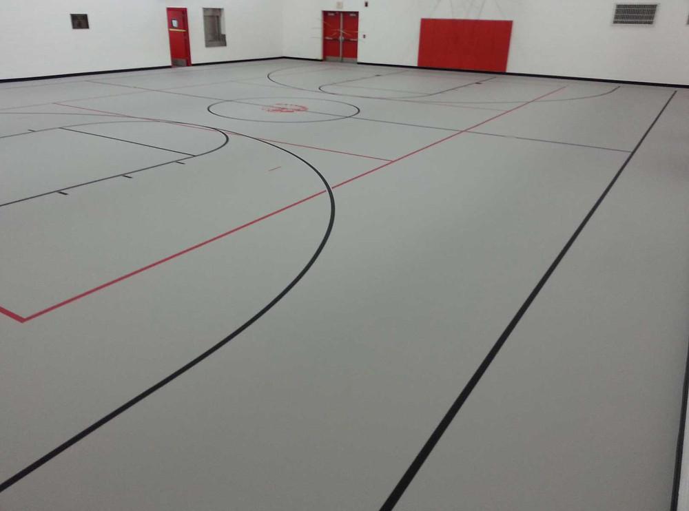 Camden Frontier Aux gymnasium located in Camden, Michigan Pulastic Strata flooring