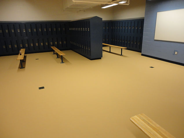 Safe, slip-resistant surface withstands heavy foot traffic in a locker room placed by Fosters