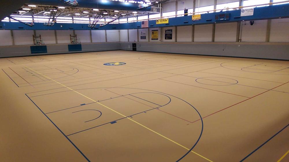 University of Michigan Flint located in Flint, Michigan Galaxy Classic and Galaxy Extreme gymnasium flooring