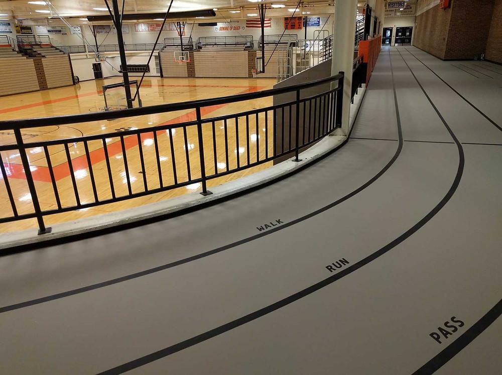 Brighton High School located in Brighton, Michigan Pulastic indoor track