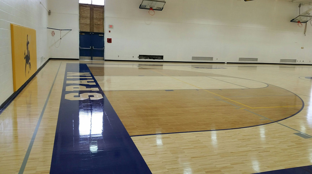 Spain Elementary located in Detroit Michigan Sportwood gymnasium flooring