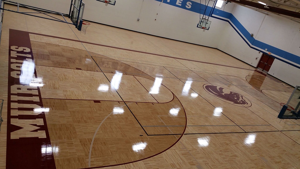 Muir Middle School located in Milford, Michigan new Sportwood gymnasium flooring