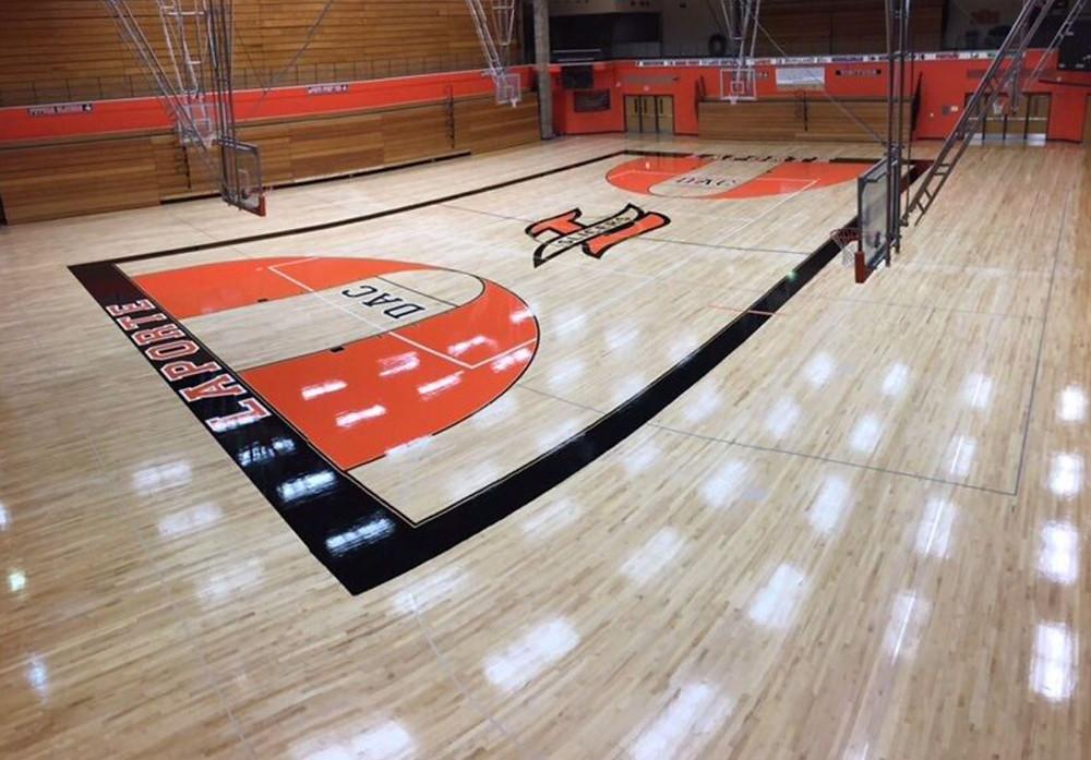 Laporte High School located in LaPorte Indiana new gymnasium flooring