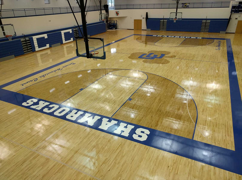 Catholic Central Detroit located in Detroit, Michigan Bio Cushion wood gymnasium flooring