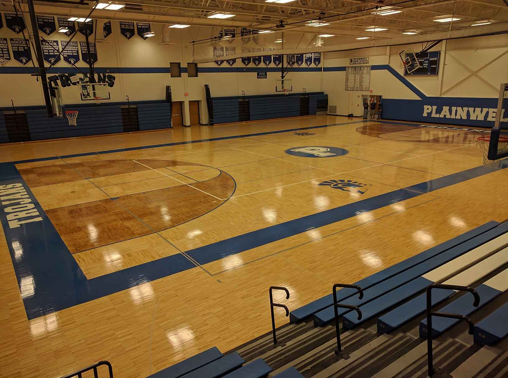 Plainwell High School located in Plainwell, Michigan Sportwood Ultra Star gymnasium flooring