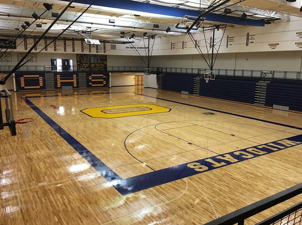 Oxford High School located in Oxford, Michigan gymnasium flooring