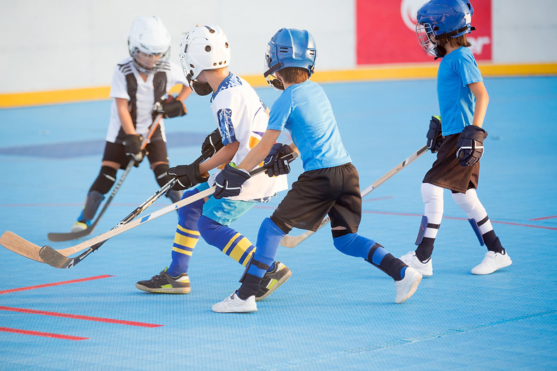 Team players having competitive hockey g