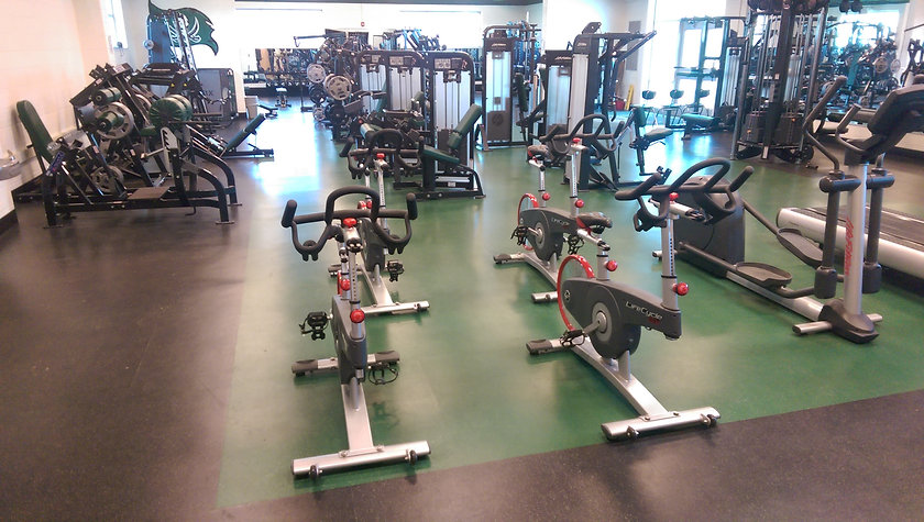 Fitness and group x rubber flooring at workout facility placed by Foster Specialty Floors