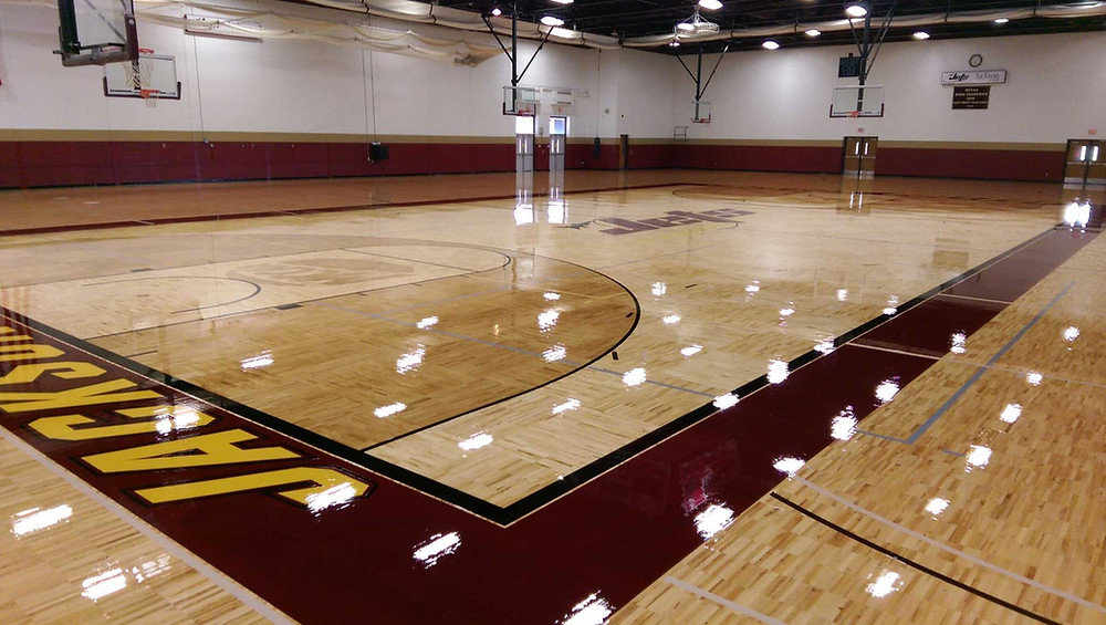Jackson Community College located in Jackson, Michigan wood gymnasium flooring