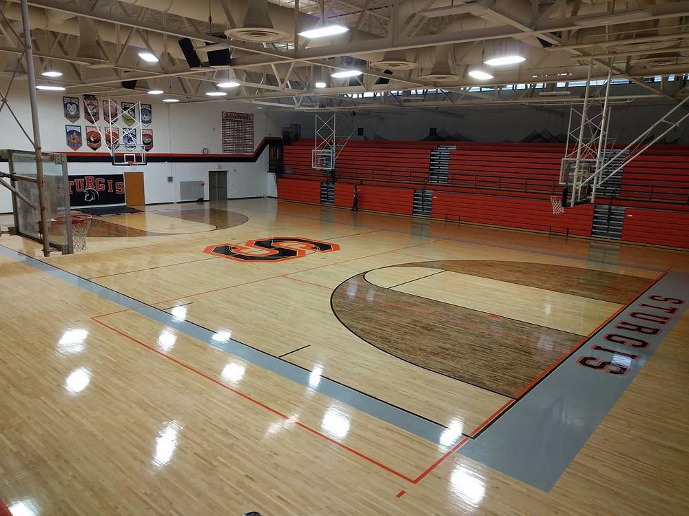 Sturgis High School located in Sturgis, Michigan wood gymnasium flooring