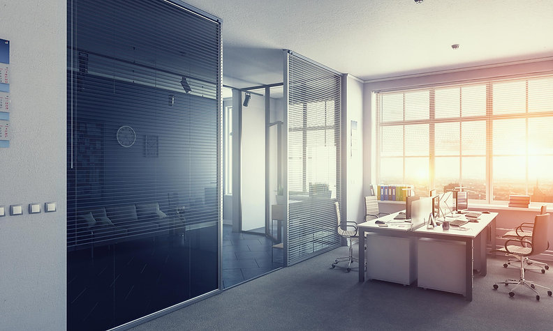office commercial flooring options. Image is an office building focusing on the flooring by Fosters
