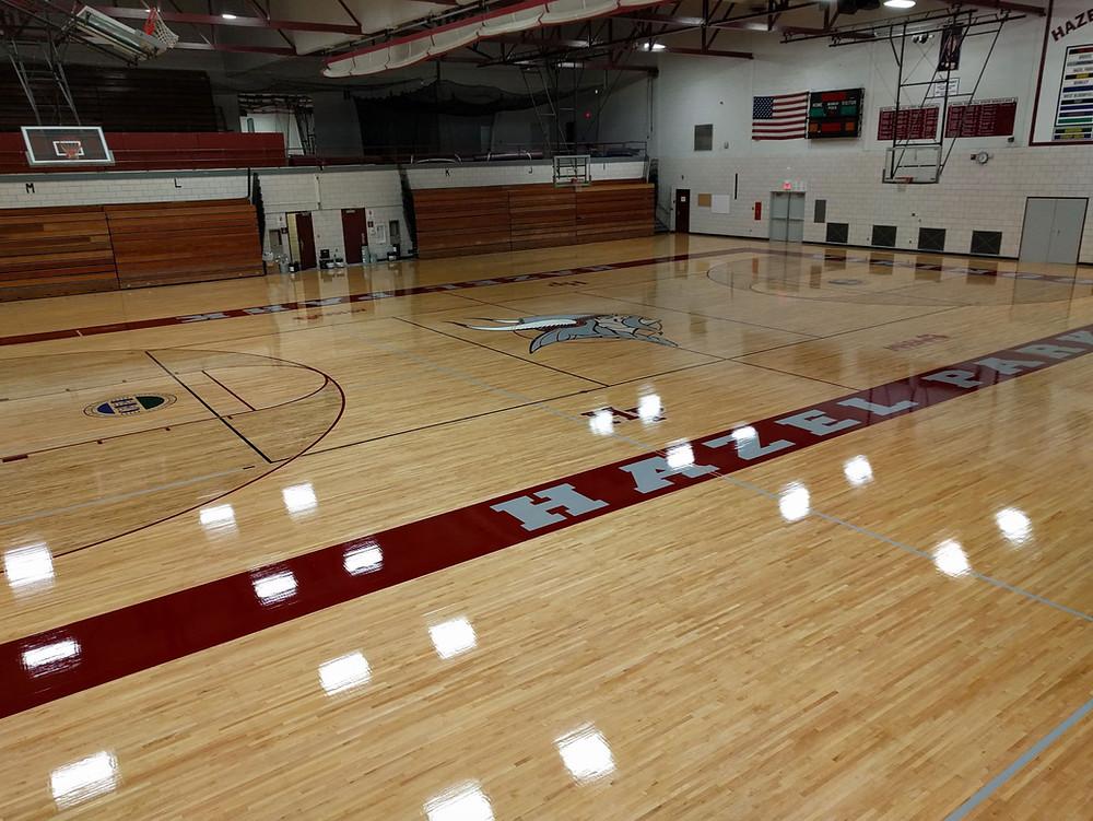 Hazel Park High School located in Hazel Park, Michigan wood gymnasium flooring