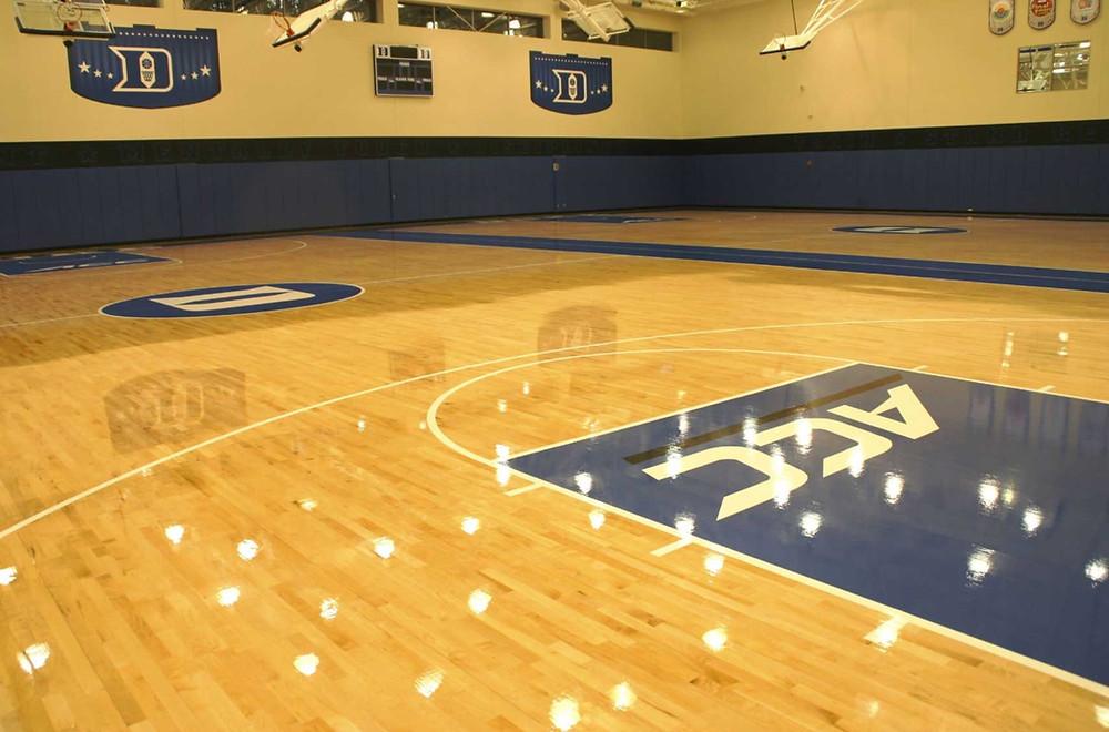 Duke University Practice Court located at Durham, North Carolina wood gymnasium flooring