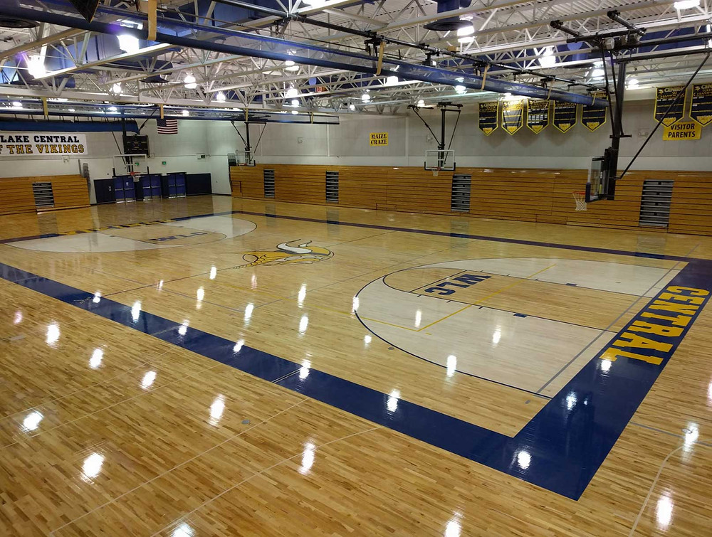 Walled Lake Central located in Commerce Charter Twp, Michigan wood gymnasium flooring
