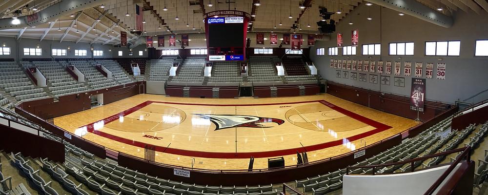North Carolina Central University Arena located in Durham, North Carolina new MVP gymnasium flooring